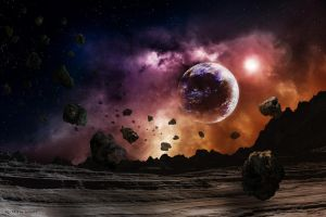 Surrounded by Asteroids by Lairis77