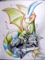 Shiny Umbreon and Flygon by InuMimi