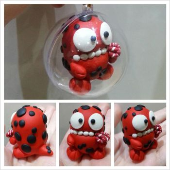 Red Monster Bauble by kirstipoo