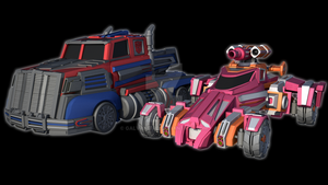 Firestorm Optimus Prime and Elita-1 - Vehicle Mode by Galvanitro