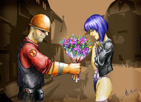 Engineer(TF2) + Motoko Kusanagi by ArchGet