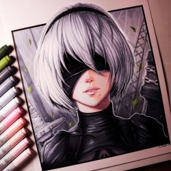 2B from NieR: Automata - Drawing by LethalChris