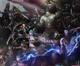 WotA Poster Zoom: Ravencrest, Malfurion and others by Vaanel