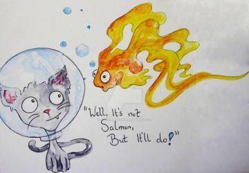 Scuba Cat and the Goldfish by SineadMeehan