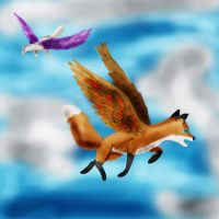 Flying Foxes by WinterIceFox