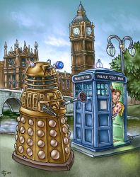 Dalek + Doctor Who by eggwhip