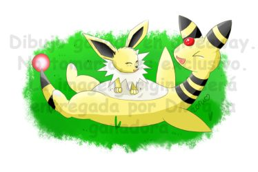 Pokemon | Jolteon and Ampharos (Giveaway-Drawing) by ZoruDawn
