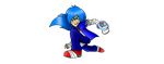 Sonic the Hedgehog wearing the Yo Kai Watch U by SBoomSonicspeeder