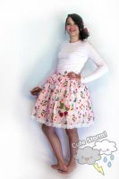Pink cherry applique loli skirt by The-Cute-Storm