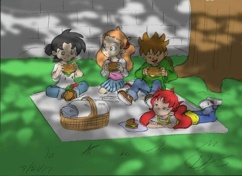 Picnic (Colored) - Ft. Tyrone, Cindy, Dominic, and by DJSIllustrator100