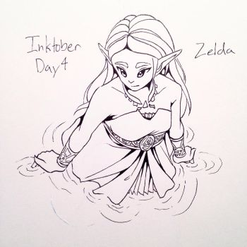 Inktober Day 4: Princess Zelda by HanaPiana