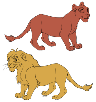 FREE Base - Lioness and Lion by Feyrah