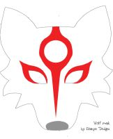 Wolf mask pattern with Okami markings by eitanya