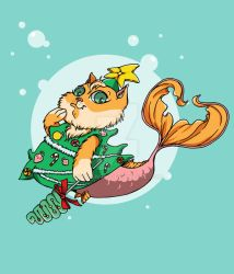 Mermaid Cat in Funny Costume by syn-snow