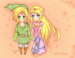 C: Zelda and Link by J-chan33