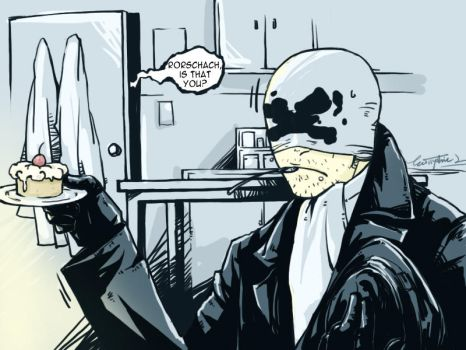 Watchmen:Rorschach and cake by EuticphicL