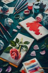 Painting flowers stains and sketches by dinabelenko