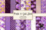 Purple And Gold Floral Digital Paper by DigitalCurio