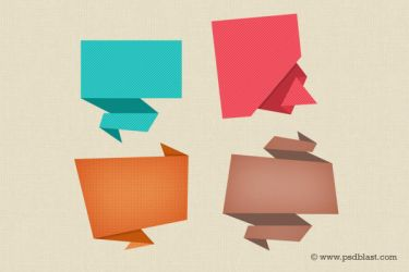 Abstract Origami Speech Bubble Icon (PSD) by psdblast