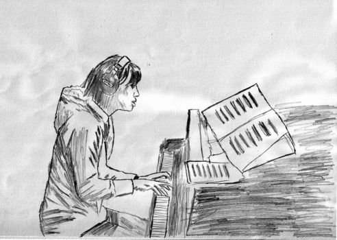 playing piano by noverbia