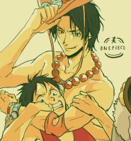 Ace and Luffy by kimkiyan