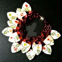Dainty Floral Red Scalemaille Bracelet by Rosie-Periannath