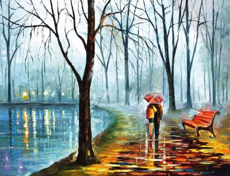 Foggy Rain by Leonid Afremov by Leonidafremov