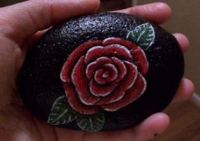 Hand painted rose on rock by TinyAna