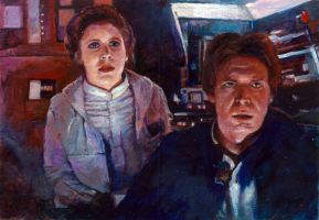 han and leia star wars illustrated sketch card by charles-hall