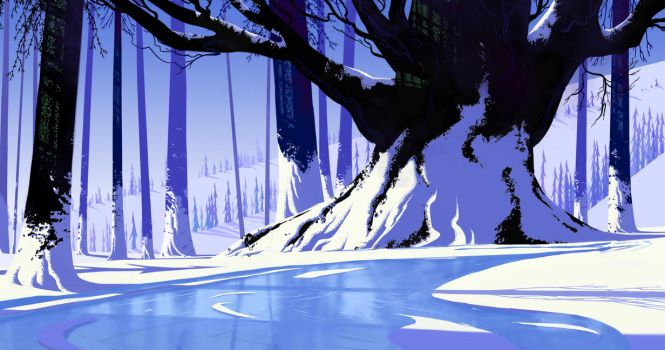 Eyvind Earle Inspired Painting #2 by gavinodonnell