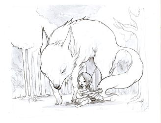 Wolf Lullaby Drawing by flyk