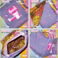 Mad Cat Bag - Blue With Pink by shiricki