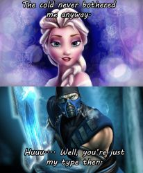 Elsa and Sub-Zero by Shizuru-Minamino