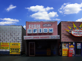 Fish N Chips in Papercraft City by MisterBill82