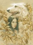 Luthien and Huan by EKukanova