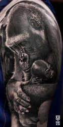 Realistic Gorilla With Baby Tattoo by Remistattoo