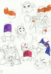 A bunch of turtles by PastellTofu