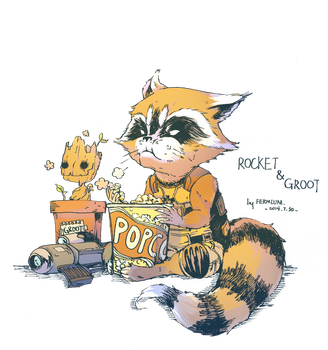 groot and rocket by FermiumIce