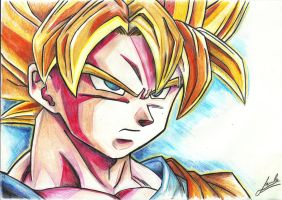 Goku super sayan Drawing by Comunello76