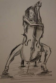 Wearing a cello - sketch charcoal by DanArt0972
