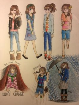 Undertelling Frisk Outfits by pandahandsome