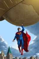 Superman lifting the Planet by nbashowtimeonnbc