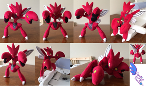 Scizor Pokemon Plush ! 13'' Completely Poseable! by GuardianEarthPlush