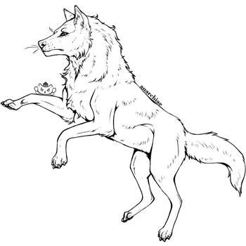 Free-to-Use Wolf Lineart by Anarchiae