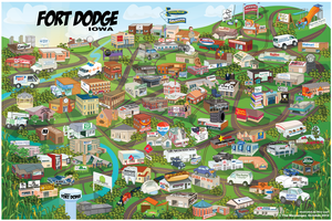 Cartoon Map of Fort Dodge Iowa by Kiracatures