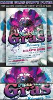 Mardi Gras Party Flyer Template by Hotpindesigns