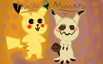 Pikachu and Mimikyu  by Jadedapril