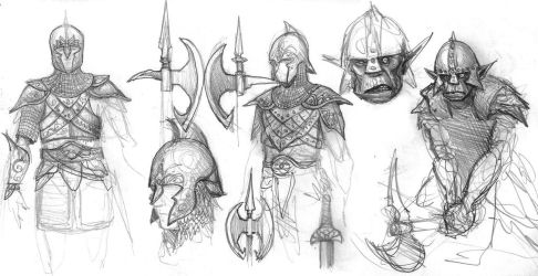 Elf and orc sketches 2 by BrokenMachine86