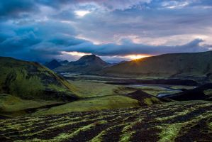 River valley in Icelandic mountains by LordBurevestnik