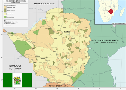 Map of Rhodesia Land Apportionment  (1970 A.D.) by KitFisto1997